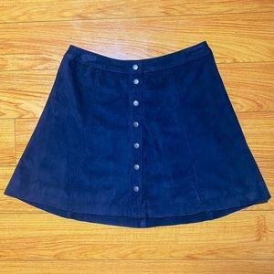 Button Up Faux Suede A-Line Navy Skirt